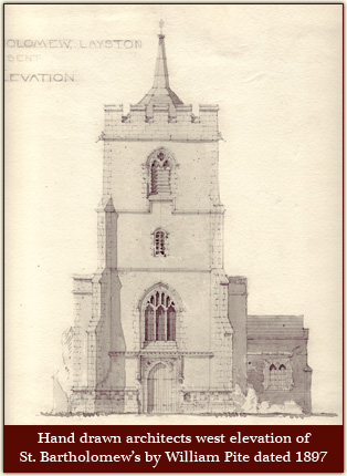 Hand drawn architects west elevation of St. Bartholomew's by William Pite dated 1897